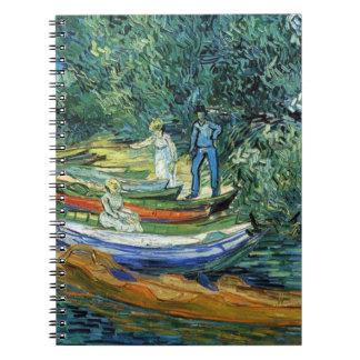 Barcos de Rowing de Van Gogh en los bancos del Ois Libros De Apuntes Con Espiral