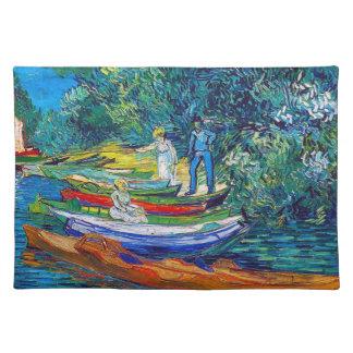Barcos de Rowing en los bancos del Oise Manteles
