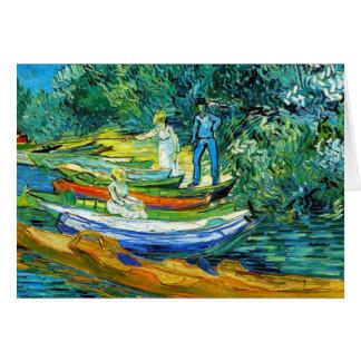 Barcos de Rowing en los bancos del Oise Felicitaciones