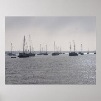 Barcos de St Augustine la Florida en el poster FL