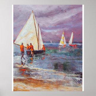 Barcos de trabajo del día lluvioso poster
