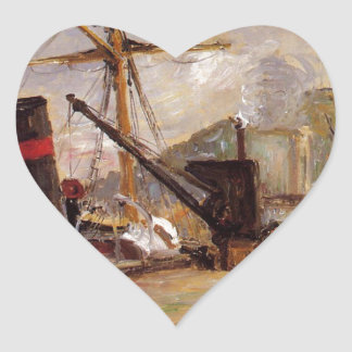 Barcos de vapor de Camille Pissarro Pegatina En Forma De Corazón