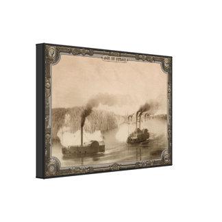 Barcos de vapor en el río. Edad del vapor #014. Impresion De Lienzo