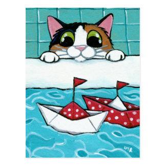 Barcos de vela de papel - postal del arte del gato