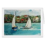 Barcos de vela en Sydney - tarjeta en blanco