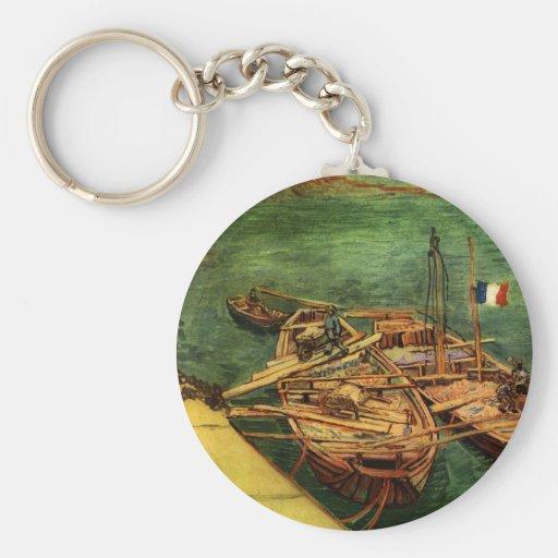 Barcos de Vincent van Gogh Llavero Redondo Tipo Pin