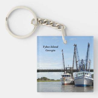 Barcos del camarón de la isla de Tybee, Georgia Llavero Cuadrado Acrílico A Una Cara