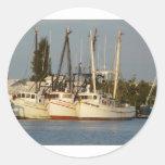 Barcos del camarón x tres pegatinas redondas