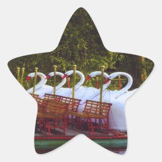 Barcos del cisne de Boston Pegatina En Forma De Estrella