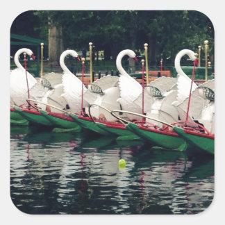 Barcos del cisne de los jardines públicos de pegatina cuadrada