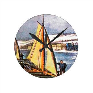 Barcos del hielo de la navegación reloj redondo mediano