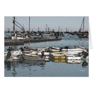 Barcos del muelle--gracias tarjeta pequeña