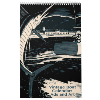 Barcos del vintage y vida acuática calendarios de pared