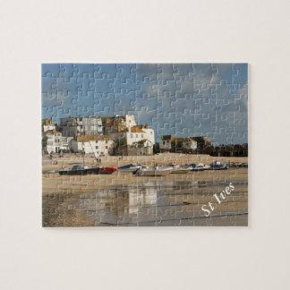 Barcos durante la bajamar, puerto de St Ives Puzzle