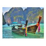 Barcos en bahía del maya tarjeta postal