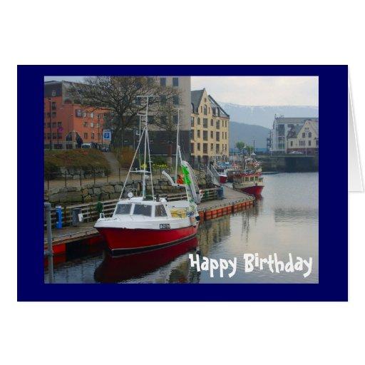 Barcos en Bergen, feliz cumpleaños Tarjeta De Felicitación