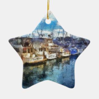 Barcos en Dana Point Adorno Navideño De Cerámica En Forma De Estrella