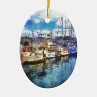 Barcos en Dana Point Adorno Navideño Ovalado De Cerámica