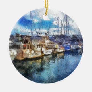 Barcos en Dana Point Adorno Navideño Redondo De Cerámica