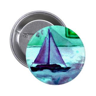 Barcos en el arte CricketDiane de la navegación de Pin Redondo De 2 Pulgadas