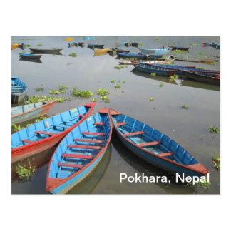 Barcos en el lago Phewa Postal