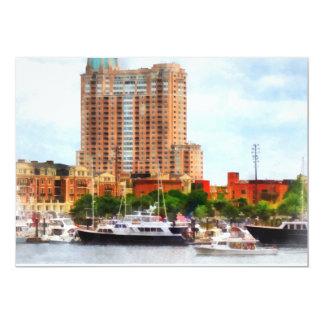 """Barcos en el MD interno de Baltimore del puerto Invitación 5"""" X 7"""""""