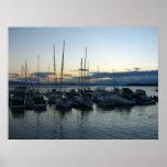 barcos en el puerto de Burlington Poster