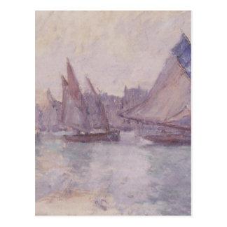 Barcos en el puerto de Le Havre de Claude Monet Tarjeta Postal