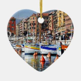 Barcos en el puerto de Niza en Francia Ornaments Para Arbol De Navidad
