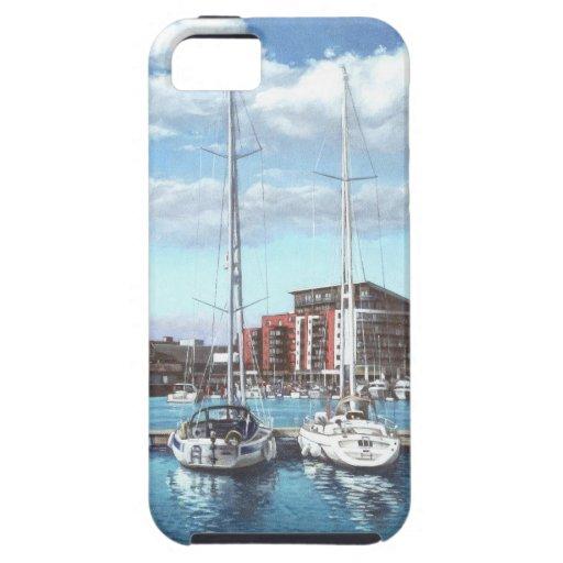 barcos en el puerto deportivo del pueblo del iPhone 5 funda