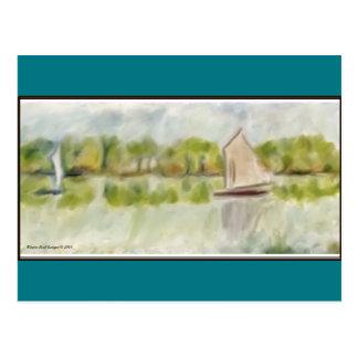 Barcos en el río tarjetas postales