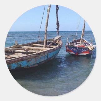 Barcos en Haití Etiqueta Redonda