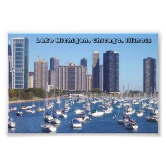 Barcos en impresión del lago Michigan, Chicago: 4x Fotografía