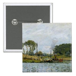 Barcos en la cerradura en Bougival, 1873 Pin Cuadrada 5 Cm