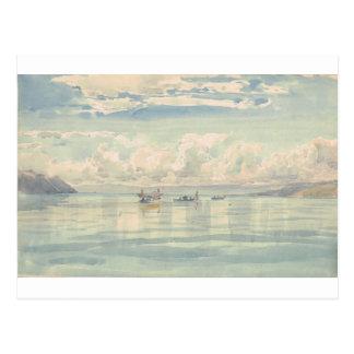 Barcos en la laca Leman de Francois Bocion Tarjeta Postal