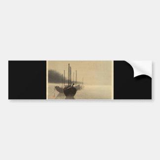 Barcos en la niebla de Seitei Watanabe 1851 - 1918 Pegatina Para Auto