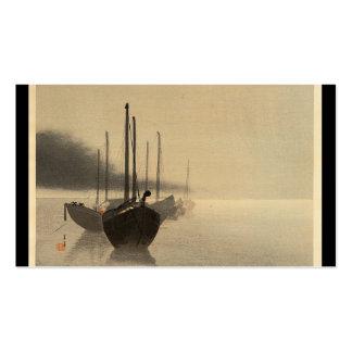 Barcos en la niebla de Seitei Watanabe 1851 - 1918 Plantillas De Tarjetas Personales