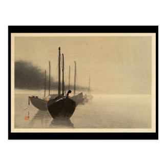 Barcos en la niebla de Seitei Watanabe 1851 - 1918 Postal