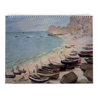 Barcos en la playa en Etretat - Claude Monet Calendarios