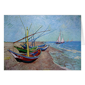 """""""Barcos en la playa en Saintes-Maries"""" por Van Tarjeta Pequeña"""