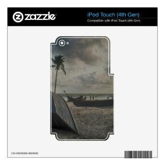 Barcos en la playa iPod touch 4G calcomanías