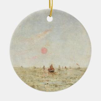 Barcos en la salida del sol (aceite en el panel) adorno redondo de cerámica