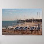 Barcos en orilla póster