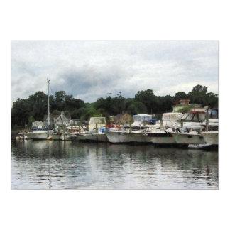 """Barcos en un día nublado Essex CT Invitación 5"""" X 7"""""""
