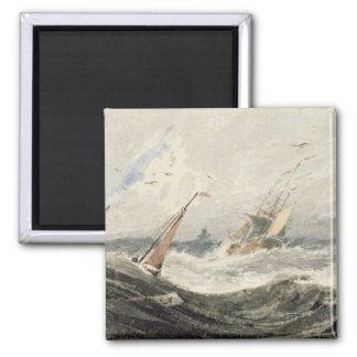 Barcos en un mar tempestuoso (w/c sobre el grafito iman