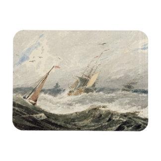 Barcos en un mar tempestuoso (w/c sobre el grafito iman rectangular