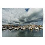 Barcos en un puerto tarjetas