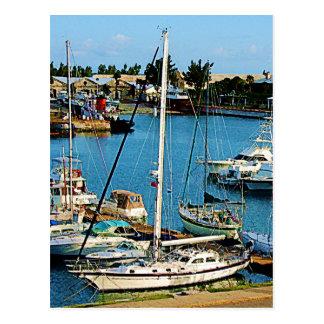 Barcos en Wharf de rey Bermudas Tarjeta Postal
