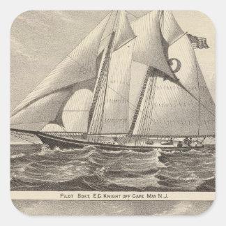 Barcos experimentales EG. Caballero y Whilldin Pegatina Cuadrada