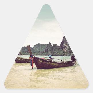 Barcos gemelos de la Largo-cola Pegatina Triangular